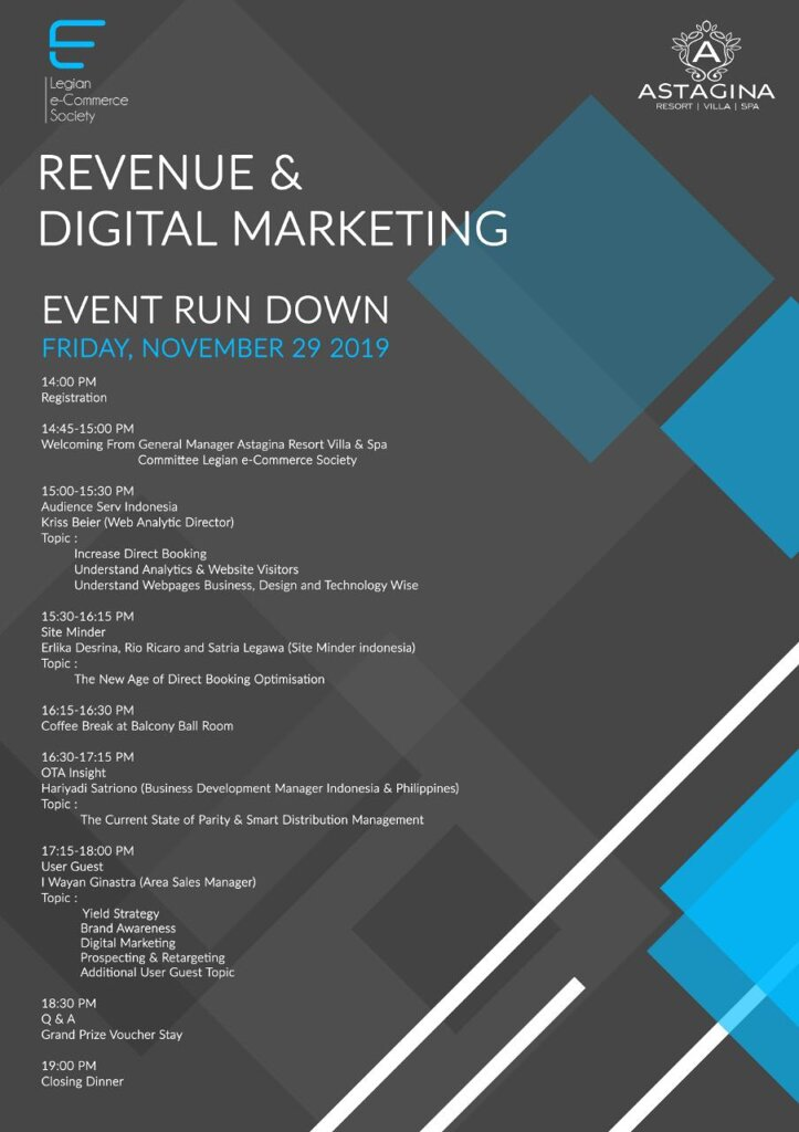 Event Run Down, Legian eCommerce Society 2019 - Revenue & Digital Marketing